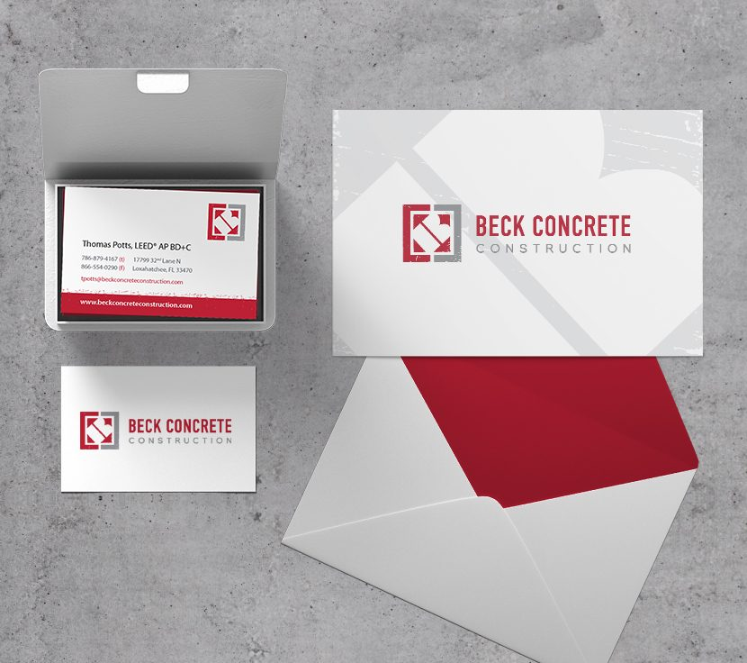 Beck Concrete Construction business and thankyou cards